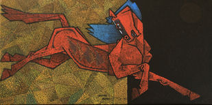 Adolescent by Dinkar Jadhav, Expressionism Painting, Acrylic on Canvas, Old Copper color