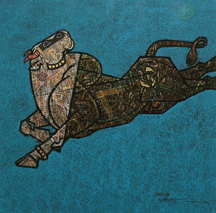 Aurthodox-2 by Dinkar Jadhav, Expressionism Painting, Acrylic on Canvas, Paradiso color