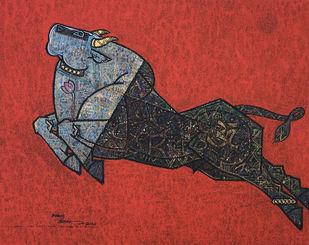 Celebration by Dinkar Jadhav, Expressionism Painting, Acrylic on Canvas, Medium Carmine color