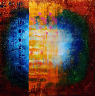 Illusion by Sunil Nair, Abstract Painting, Acrylic on Canvas, Bastille color