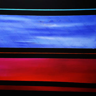 Twilight by Sunil Nair, Geometrical Painting, Acrylic on Canvas, Royal Blue color