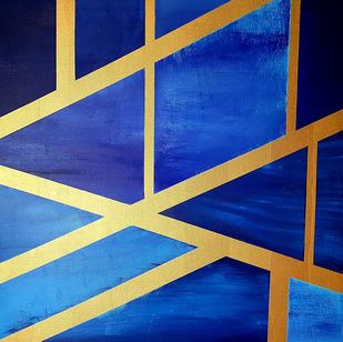 Lust by Sunil Nair, Geometrical Painting, Acrylic on Canvas, Fun Blue color