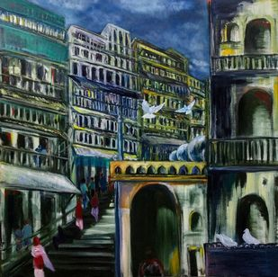 Lost City by Simmi Khanna, Expressionism Painting, Oil on Canvas, Outer Space color