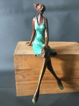 Seated Lady(with pedestal) by Shanta Samant, Art Deco Sculpture | 3D, Bronze, Storm Dust color