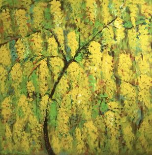 Invincible summer by Bhaswati Boruah , Impressionism Painting, Acrylic on Canvas, Sycamore color