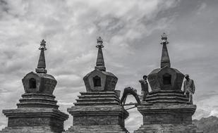 Ladakh Monument workers-Pathway to Heaven Digital Print by SRIJAN NANDAN,Image