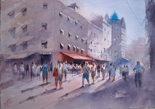 Afternoon Glory by Sajal K. Mitra, Impressionism Painting, Watercolor on Paper, Mamba color