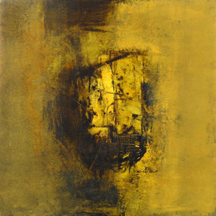 Untitled by Umesh Patil, Abstract Painting, Acrylic on Canvas, Luxor Gold color
