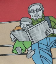 Story time with Grandpa by Amrit Khurana, Expressionism Painting, Acrylic on Paper, Pewter color