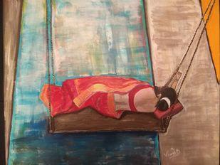 Draupadi by Vinod K Yadav, Expressionism Painting, Acrylic on Canvas, Indian Khaki color