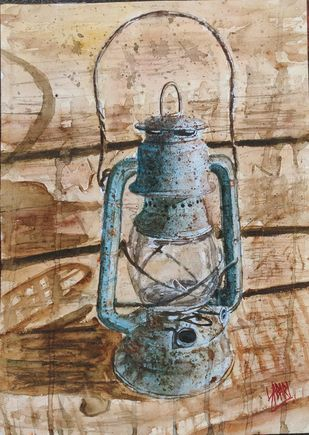 Old Is Gold by Sabari Girish T, Impressionism Painting, Watercolor on Paper, Indian Khaki color