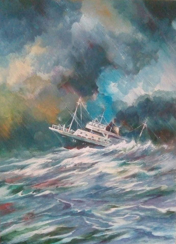 Nature The Ultimate Captain by Subhasis Palodhi, Impressionism Painting, Mixed Media on Paper, Rolling Stone color