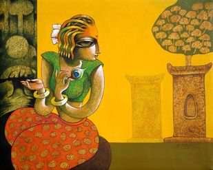 Bansidhar-74 by Ramchandra Pokale, Expressionism Painting, Acrylic on Canvas, Dixie color