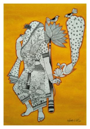 Natiya Mayuri by Manjunath N Wali , Expressionism Painting, Watercolour and Pen and Ink on Paper, Pumice color