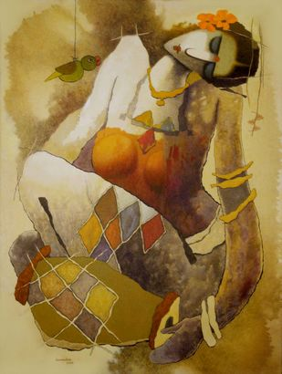 untitled by Surendra Pal Singh, Expressionism Painting, Oil and acrylic on Canvas, Driftwood color