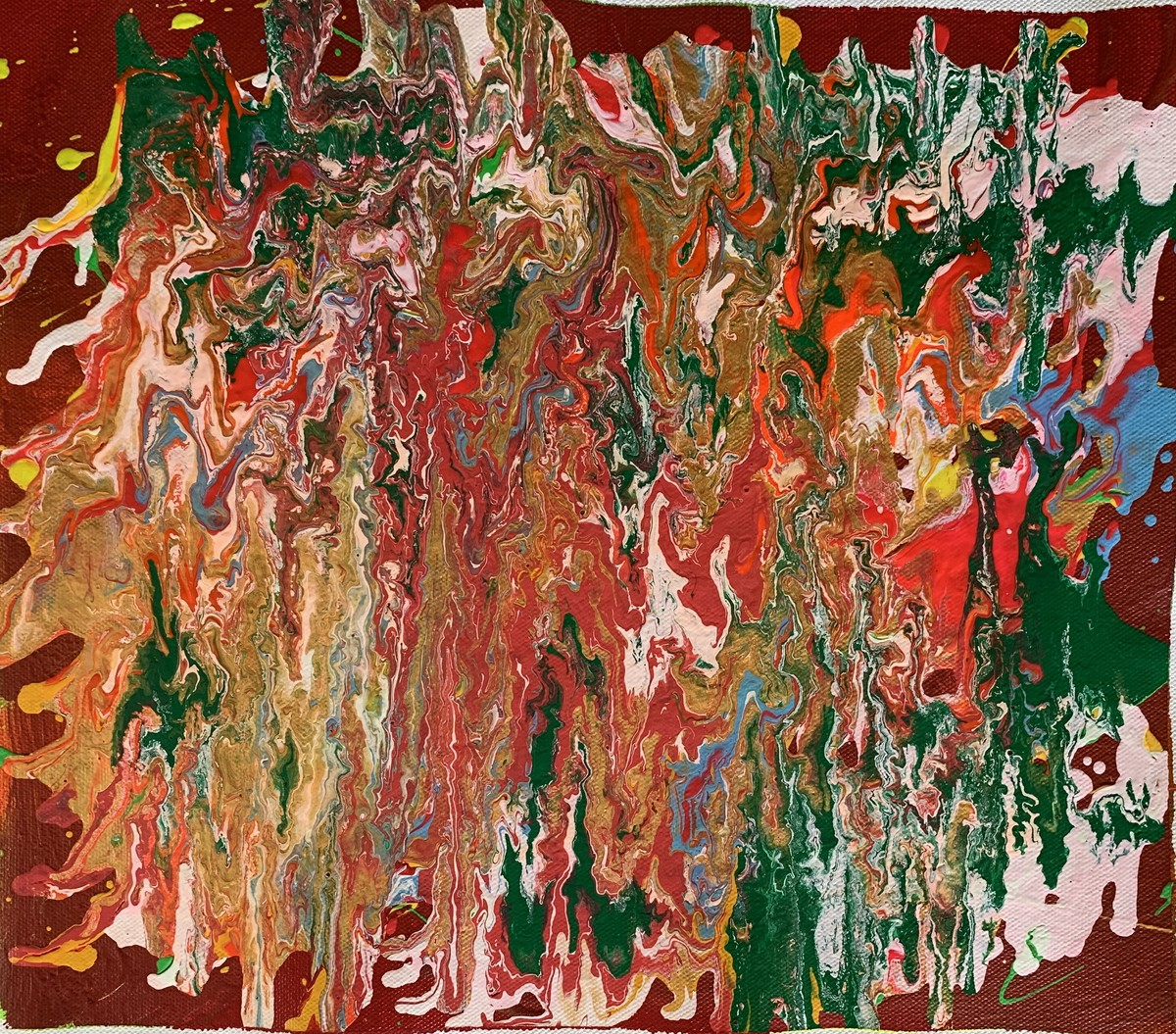 Inner emotion on canvas by Meet Thakkar, Abstract Painting, Acrylic on Canvas, Nutmeg color