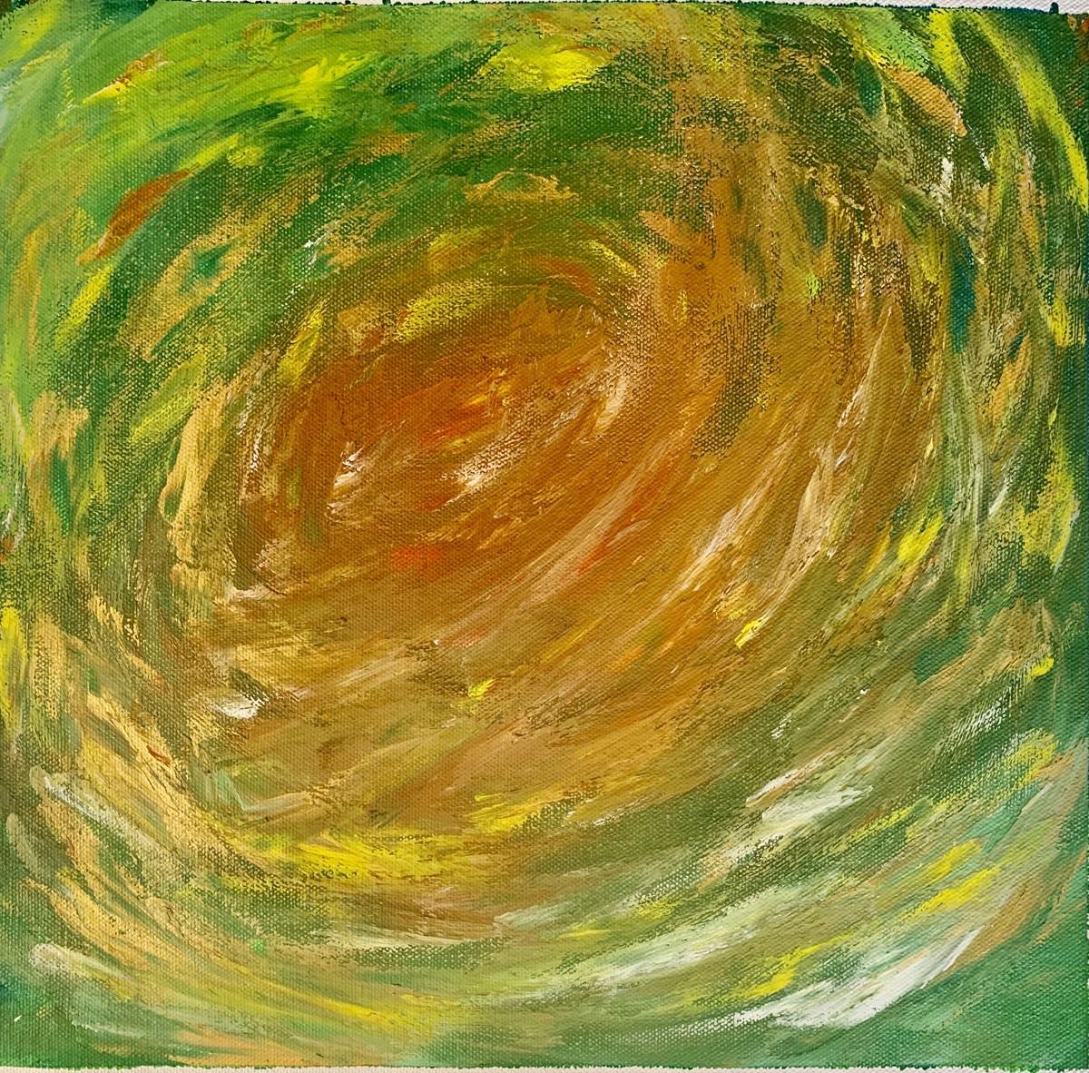 Moment of joy by Meet Thakkar, Abstract Painting, Acrylic on Canvas, Metallic Sunburst color