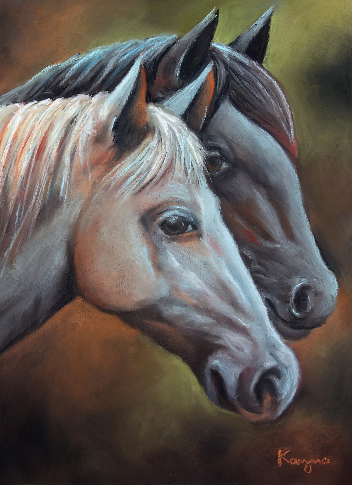 The Horses by Kavya vyas , Photorealism Painting, Pastel on Paper, Armadillo color