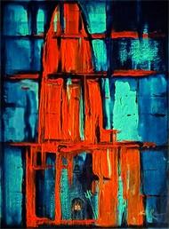 Shivalaya -The Shiva Temple by Neeraj Raina, Abstract Painting, Acrylic on Canvas, Tia Maria color