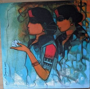 Untitled by Sachin Sagare, Expressionism Painting, Acrylic on Canvas, Mine Shaft color