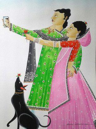 Babu-Bibi taking a 'selfie' by Bhaskar Chitrakar, Folk Painting, Natural colours on paper, Everglade color