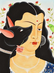 Bibi with her dog by Bhaskar Chitrakar, Folk Painting, Natural colours on paper, Rodeo Dust color