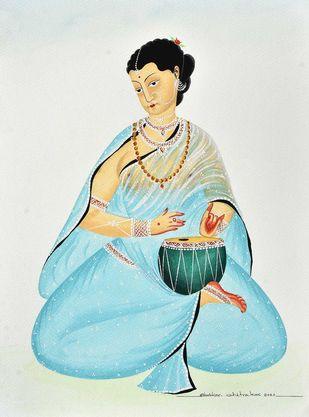 Bibi playing the 'tabla' by Bhaskar Chitrakar, Folk Painting, Natural colours on paper, Pumice color