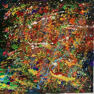 Colours of hand flow by Meet Thakkar, Abstract Painting, Acrylic on Canvas, Whiskey color