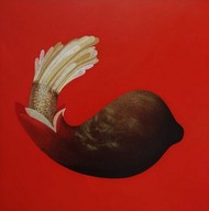 ANKURAN SERIES by Uday Chand Goswami, Expressionism Painting, Mixed Media on Canvas, Tabasco color