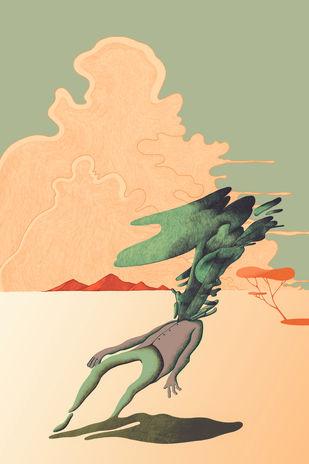 death by mohd adnan, Expressionism Digital Art, Digital Print on Canvas, Brandy color