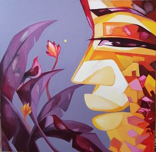 Where do you come from where do you go? 2 by Laxmi Mysore , Expressionism Painting, Acrylic on Canvas, Violet Purple color