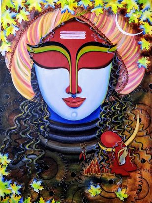 VISHESHWAR S-3 by SUSMITA MANDAL, Expressionism Painting, Acrylic on Canvas, Cameo color