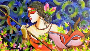 SHIVANGI by SUSMITA MANDAL, Expressionism Painting, Acrylic on Canvas, Tacao color