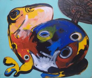 The Frog by Subrata Sen, Expressionism Painting, Acrylic on Canvas, Glacier color