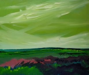 In the open by Subrata Sen, Expressionism Painting, Acrylic on Canvas, Asparagus color