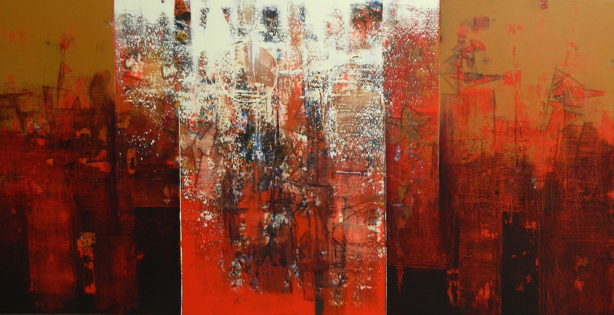 untitled by Stalin P J, Abstract Painting, Acrylic on Canvas, Mocha color