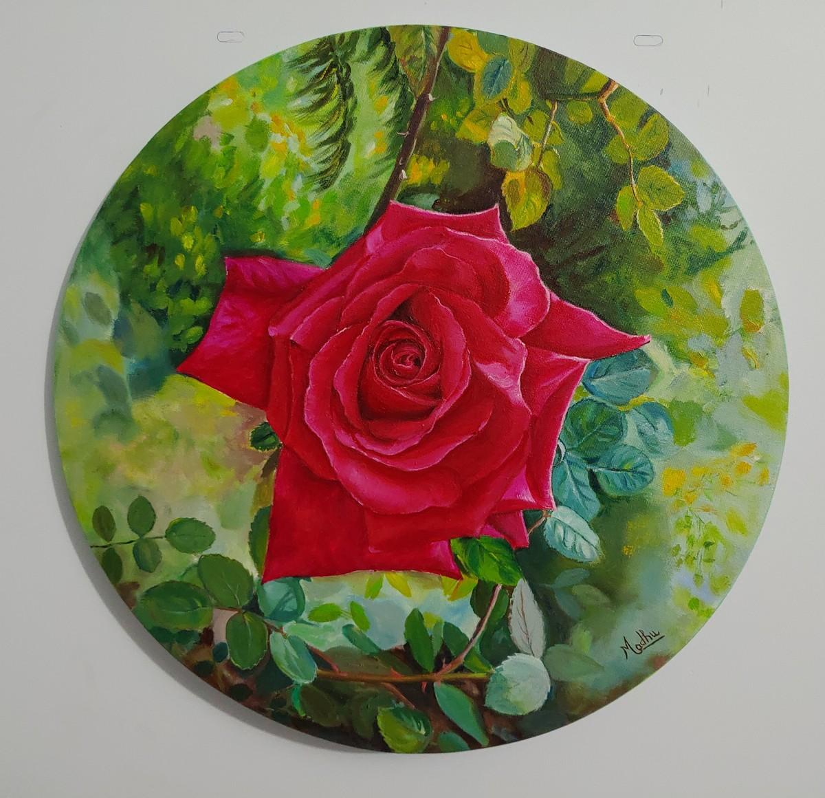 Red Rose Digital Print by Madhu Singh,Expressionism