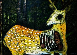 Maricha - The Golden Deer by Caesar Das, Expressionism Painting, Mixed Media on Paper, Sundance color