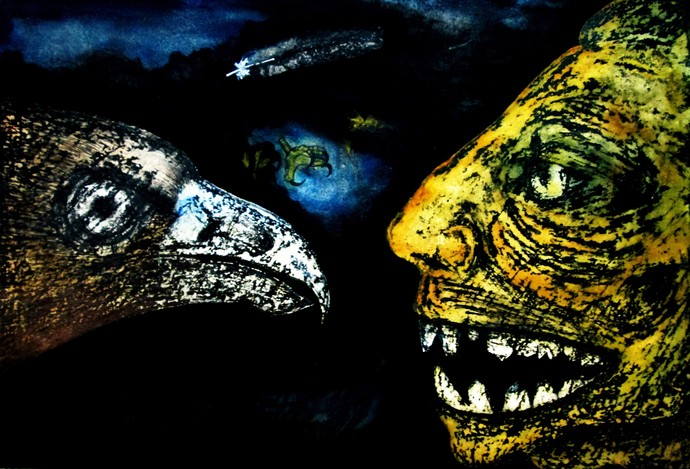 Jatayu Ravana Face-off by Caesar Das, Expressionism Painting, Mixed Media on Paper, Woodsmoke color