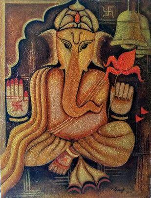 Ganapati by Vibha Singh, Decorative Painting, Acrylic on Canvas, Spicy Mix color