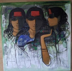 Untitled by Sachin Sagare, Expressionism Painting, Acrylic on Canvas, Dune color