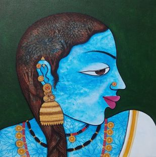 Village Beauty by Rachappaji, Expressionism Painting, Acrylic on Canvas, Scooter color