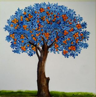 The Tree 1 by Rudragaud L Indi, Expressionism Painting, Watercolor on Paper, Gray Nickel color