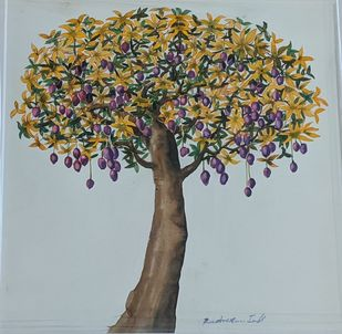 The Tree 2 by Rudragaud L Indi, Expressionism Painting, Watercolor on Paper, Verdigris color