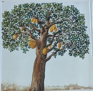 The Tree 3 by Rudragaud L Indi, Expressionism Painting, Watercolor on Paper, Kelp color