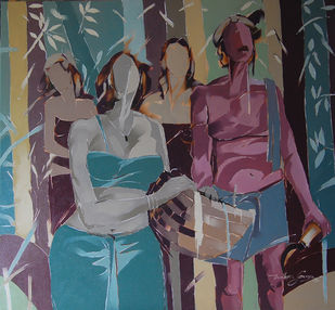Working family by Wilson Souza, Expressionism Painting, Oil on Canvas, Shuttle Gray color