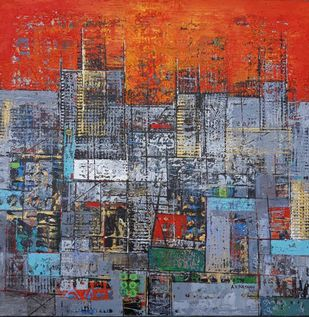 My City Series by S A Vimalanathan, Abstract Painting, Acrylic on Canvas, Jumbo color