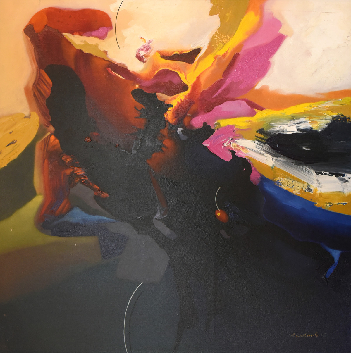 Poetics of Emotions LXXXII by Kandan G, Abstract Painting, Acrylic on Board, Mine Shaft color