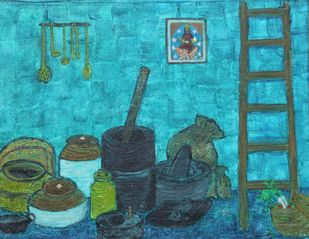 Annapurna- food is more than Maya by Sudha Sneha D, Expressionism Painting, Oil on Canvas Board, Moonstone color