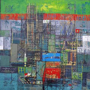 My City Series by S A Vimalanathan, Abstract Painting, Acrylic on Canvas, Corduroy color